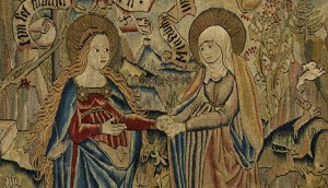 46.45 TEXTILES tapestry panel tapestry panel Switzerland (place of manufacture) circa 1500 wool, silk thread, metal thread, gold, 15-17 warps to the inch overall: 737 mm x 755 mm Tapestry panel depicting the Visitation, wool, silk and metal threads, 15-17 warps to the inch. Made in Switzerland, circa 1500.