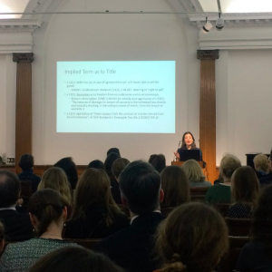 Dr Miriam Goldby speaking at the Art Transactions Afternoon Seminar